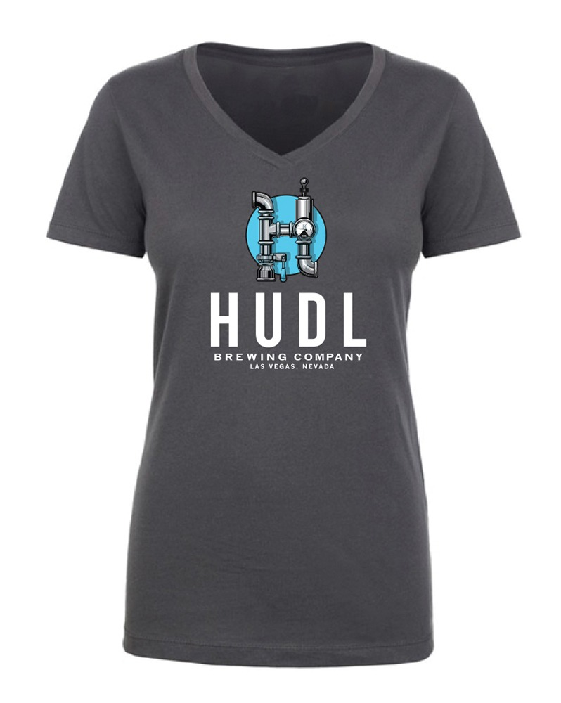 HUDL Brewing - Women's V-Neck Front - Charcoal
