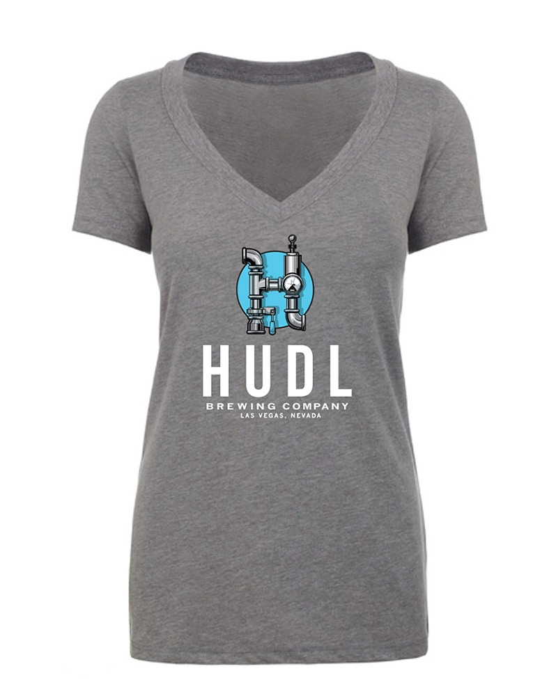 HUDL Brewing - Women's Deep V-Neck Front - Grey